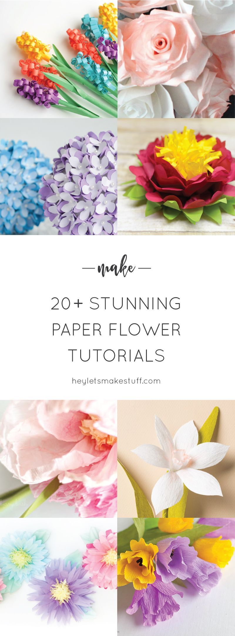 20 Stunning Paper Flower Tutorials Pinterest Paper Flower