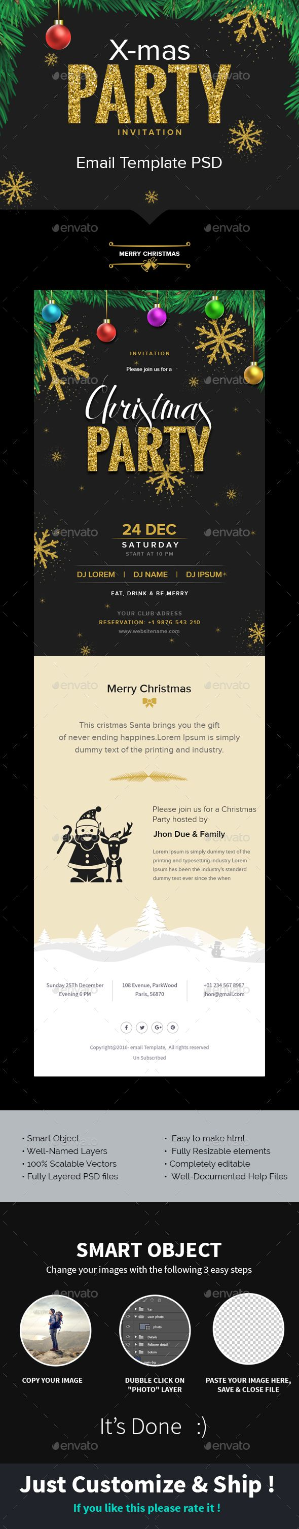X-mas - Christmas Party Invitation Email Template PSD | Party ...