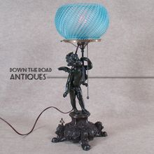 Victorian Gas Portable Lamp with Figural Cupid - 100% Original -   1880's