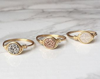 Minimalist Druzy Ring Delicate Druzy Ring Rose Gold Druzy Wire