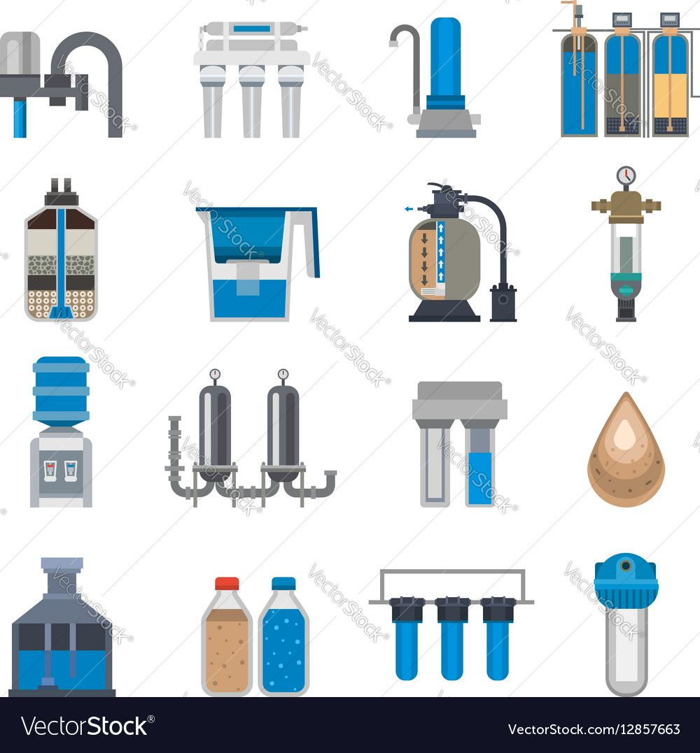 Water Filtration Icons Vector Image On Vectorstock Water And Sanitation Water Water Filtration