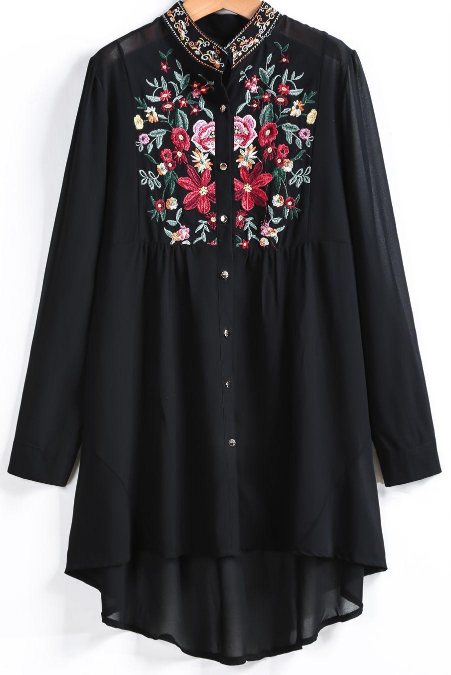 Blusa bordada manga larga-negro 22.24  07212d639c05