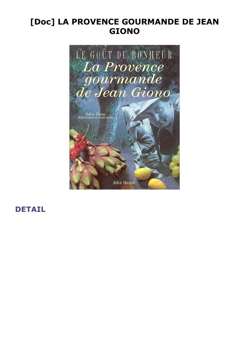 La Provence Gourmande De Jean Giono Book Cover Books Cover