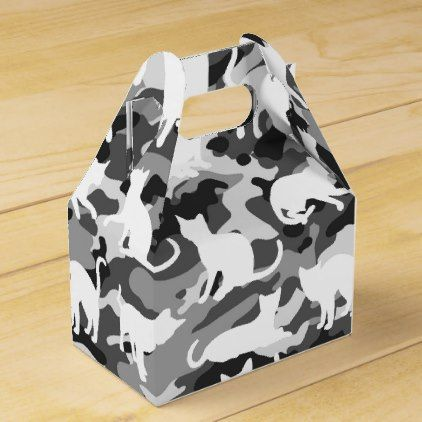Black and White Catmouflage Camouflage Favor Box - black and white gifts unique special b&w style