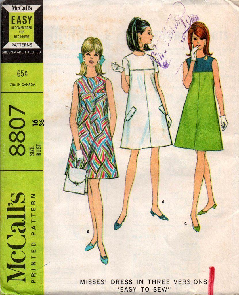 McCallu0027s 8807 Easy Tent Dress Pattern Size 16 Bust 36 Inches UNCUT Factory Folded  sc 1 st  Pinterest & McCallu0027s 8807 Easy Tent Dress Pattern Size 16 Bust 36 Inches UNCUT ...