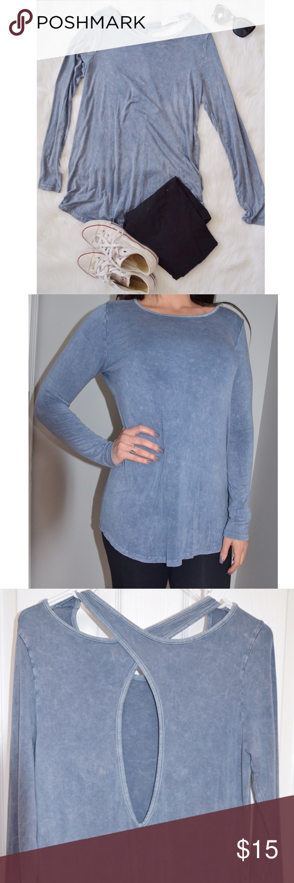 """✨Women's MUST HAVE Soft Blue Silky Top✨ This shirt is SO soft! Lightweight, breathable fabric. Comfortable with a """"peekaboo"""" design on the back. Super cute with a casual chic look. Size MD. Model in picture is SM wearing size MD. Peach Love Tops Tunics"""