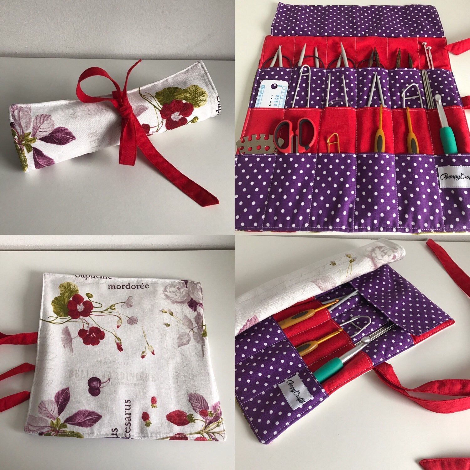 Strawberry and blueberry circular needle roll, knitting needle roll ...
