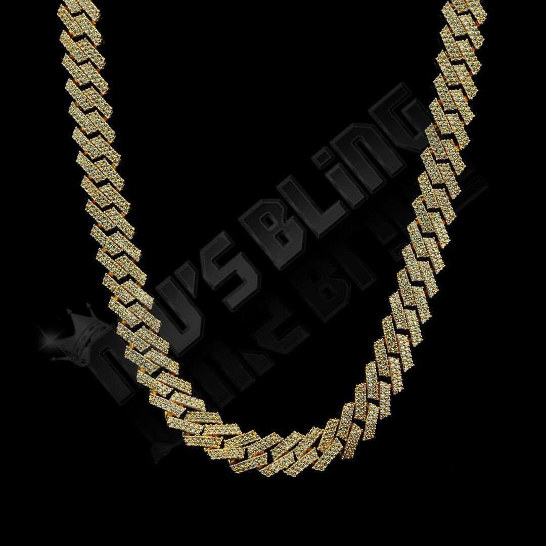 18k Gold Plated Out Iced Lab Diamond Prong Set 14mm Cuban Link Chain Bracelet In 2020 Cuban Link Chain Cuban Link Chain Men Chains For Men