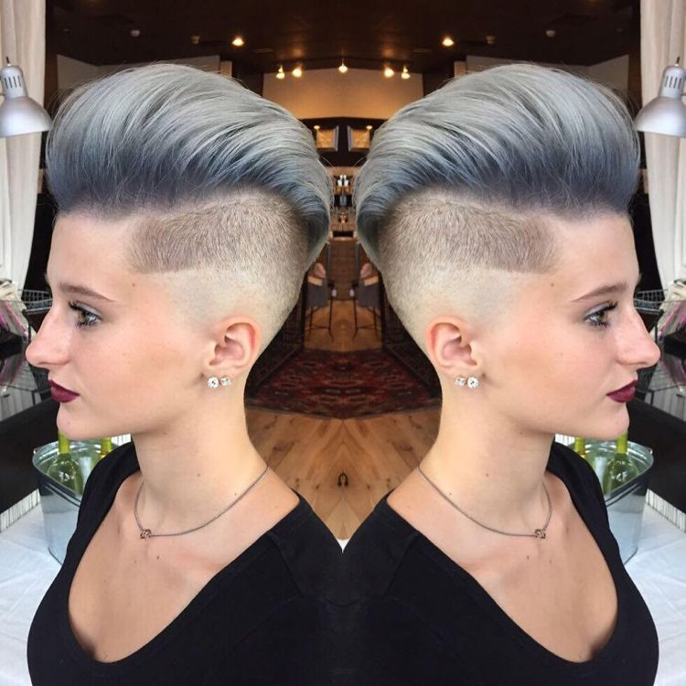 irokesenschnitt kurz frauen undercut grau hairstyles. Black Bedroom Furniture Sets. Home Design Ideas