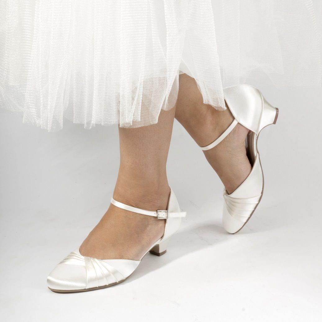 Low heel dress shoes for wedding  Maple Brautschuhe Ivory Satin Absatz  cm von PINK  Wedding