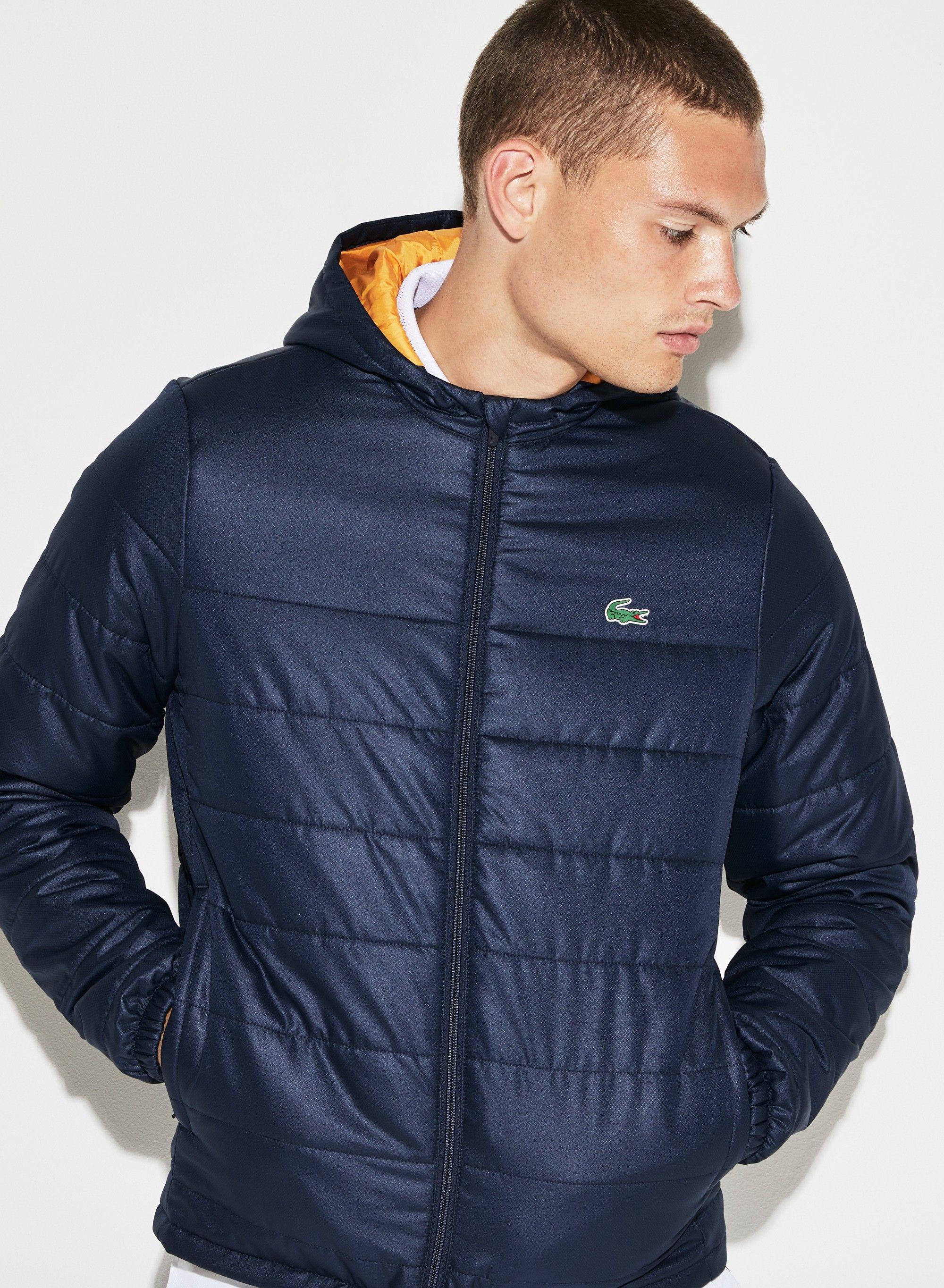 8c62743483 Lacoste Men's Sport Hooded Water-Resistant Taffeta Tennis Jacket - Navy  Blue/Pomelo 4Xl Green