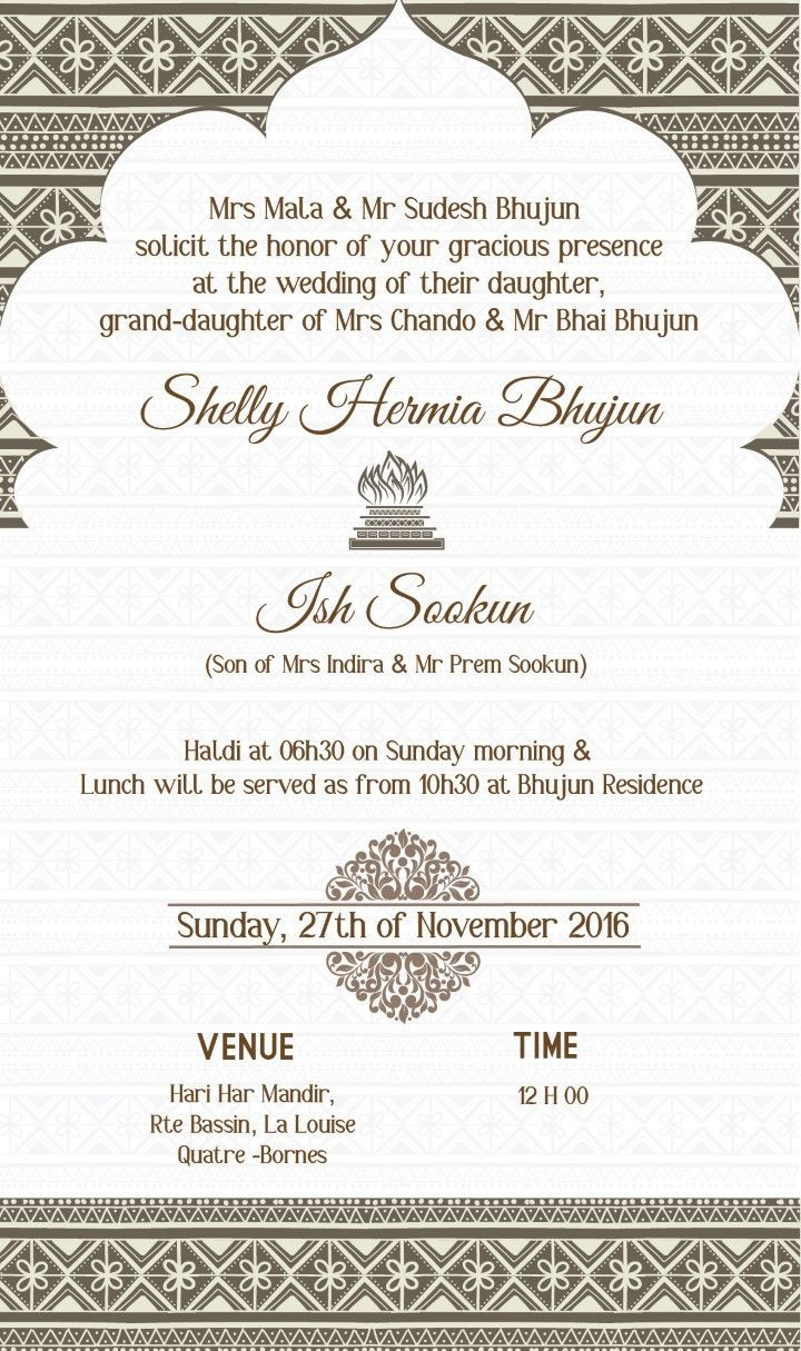 I Designed My Wedding Invitation Using Available Free Patterns Online Indian Wedding Invitations Indian Wedding Invitation Wording Engagement Invitation Cards