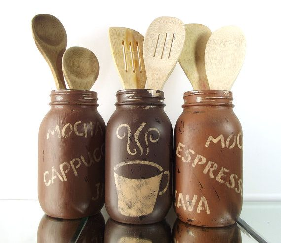 Kitchen Decor // Hand Painted Mason Jars // Rustic Country Home Decor // Coffee  Themed Decor // Kitchen Utensil Holder // Distressed Decor