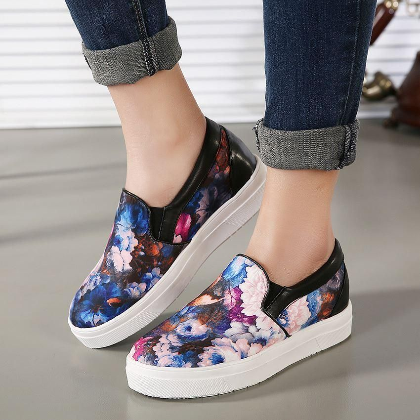 New Spring Summer Korean Style Fashion Women Print Casual Shoes Round Toe  Elevator Shoe Size 35. Shoes SkechersSports ...