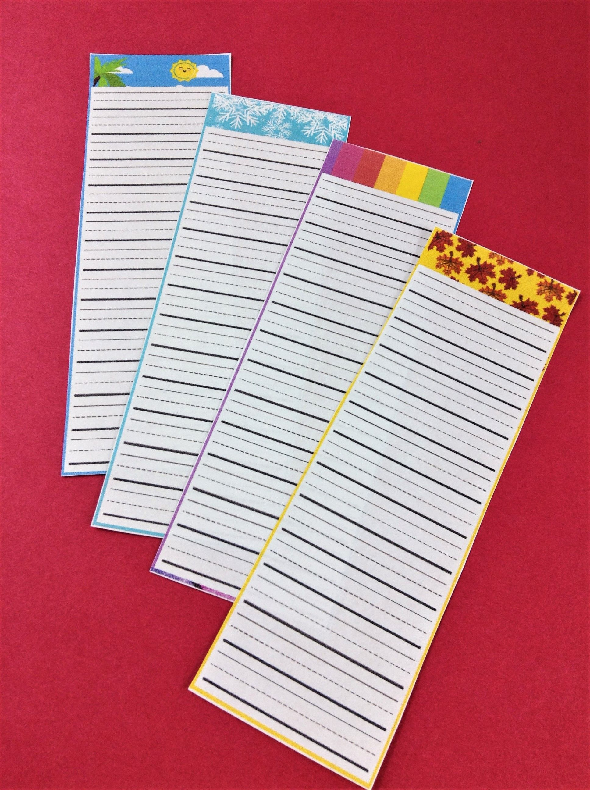 Seasonal Word List Bookmarks For Spelling