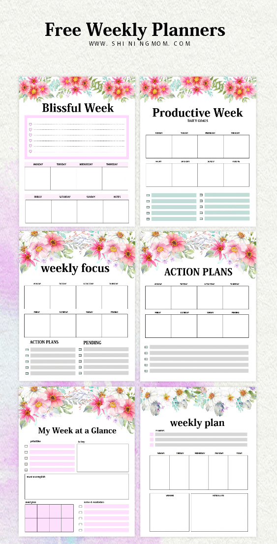 Free Weekly Planner Templates: 15 Beautiful Designs