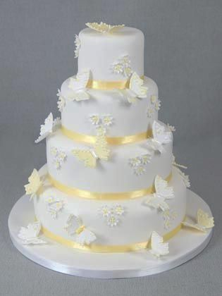 Butterfly Modern Elegant Wedding Cake Designs