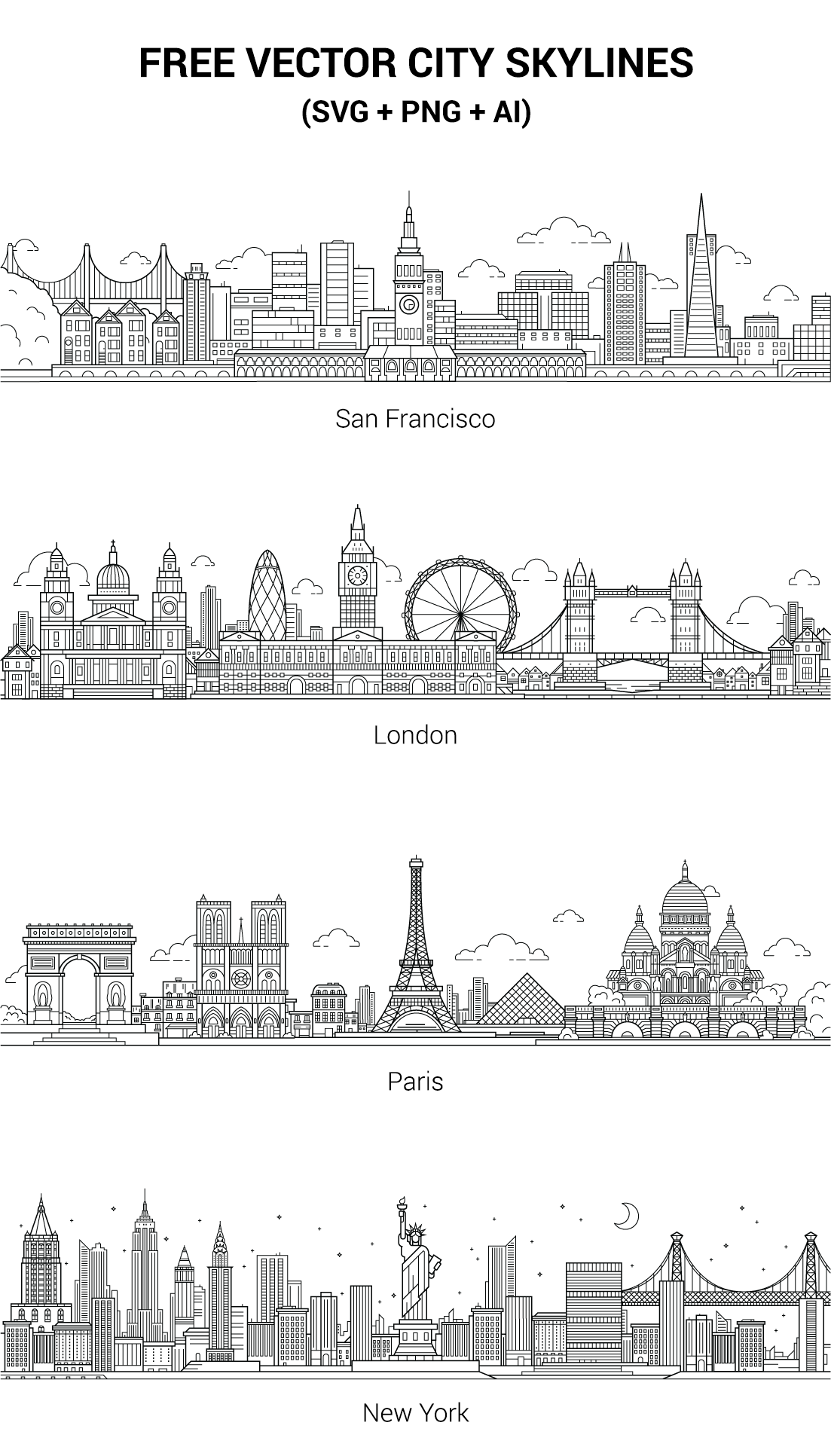 The Vectors Are Free To Use For Any Commercial Or Non Commercial Projects If You Like This Set Any Feedback Will Be Skyline Drawing City Drawing City Skyline