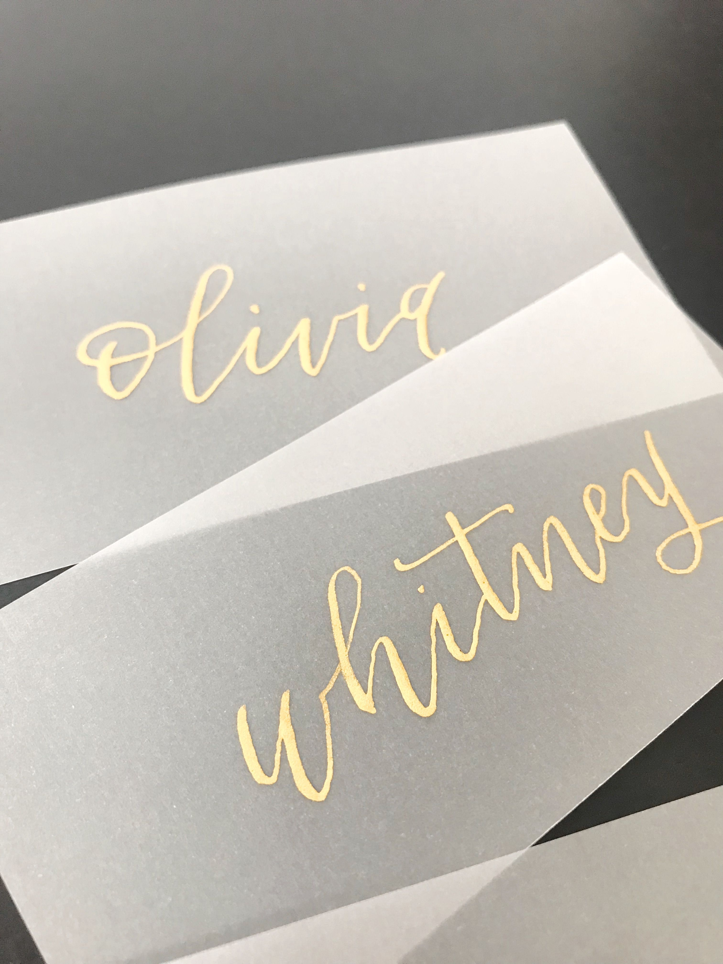 Vellum Place Cards Escort Cards Gold Ink Modern Calligraphy