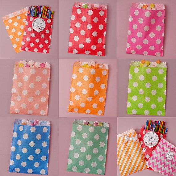 Large Polka Dot Paper Candy Bags Party Favors Candy Bar Buffet Treat Bags Assorted Colors  Mix /& Match Valentine/'s Day Ideas Free Shipping