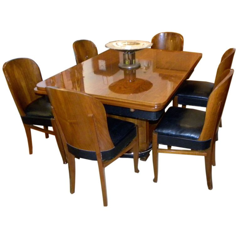 Streamline French Art Deco Dining Table And Chairs 1stdibs Com