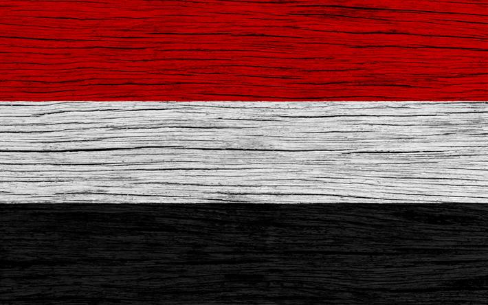 Lataa kuva Jemenin lippu, 4k, Aasiassa, puinen rakenne, kansalliset symbolit, art, Jemen