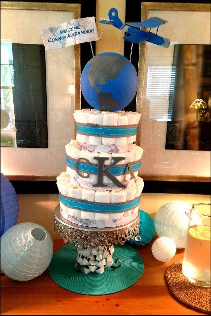 Diaper Cake For Adventure Themed Boy Baby Shower