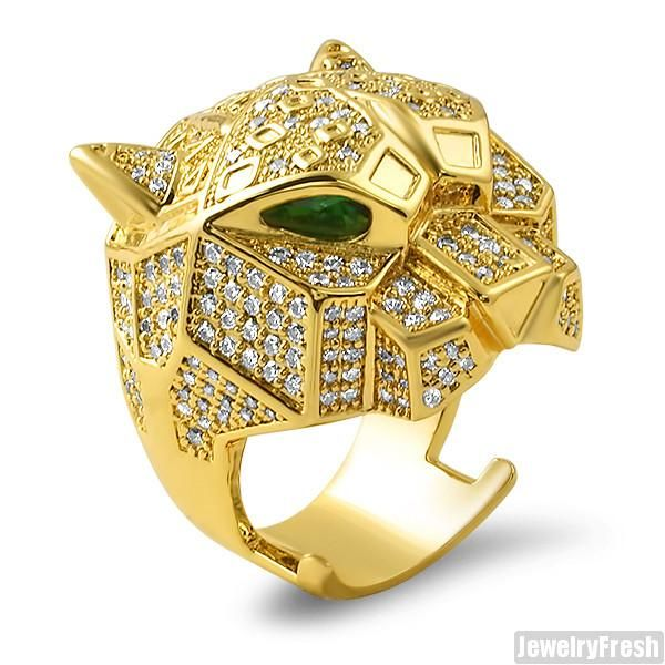 Gold 3D Iced Out Tiger Emerald Ring