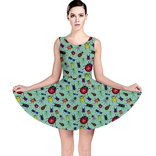 CowCow Green Color Bugs And Beetles Green Pattern Skater…  150df0267