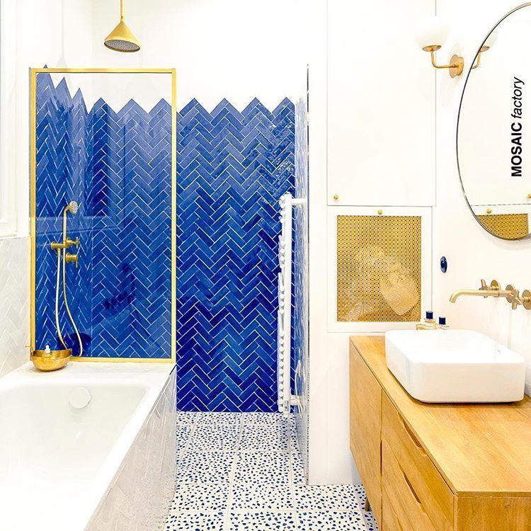 Eautiful Bathroom With Terrazzo Cristal Blue 30x30cm On The Floor Shower Wall In Zellige Fishbone Popular Bathroom Designs Beautiful Bathrooms Shower Wall