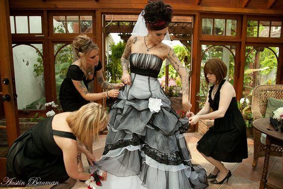 Gothic+Wedding+Dress+in+Black+and+White+by+WeddingDressFantasy,+$865.00