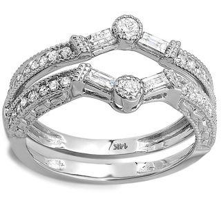 14k White Gold 12ct TDW Diamond Engagement Ring Enhancer Guard HI