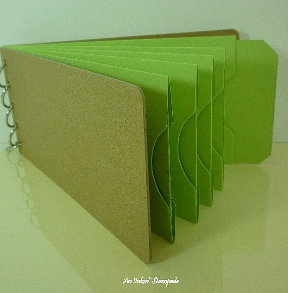 Chipboard AlbumKraft and Green Pocket Tag by aninkinstampede, $5.00