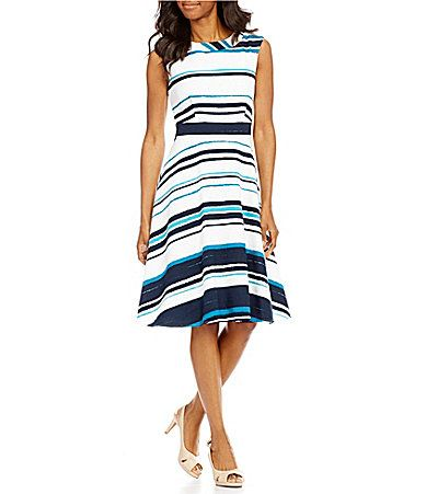 94f6c74e08 Alex Marie Constance Round Neck Sleeveless FitandFlare Striped Dress   Dillards