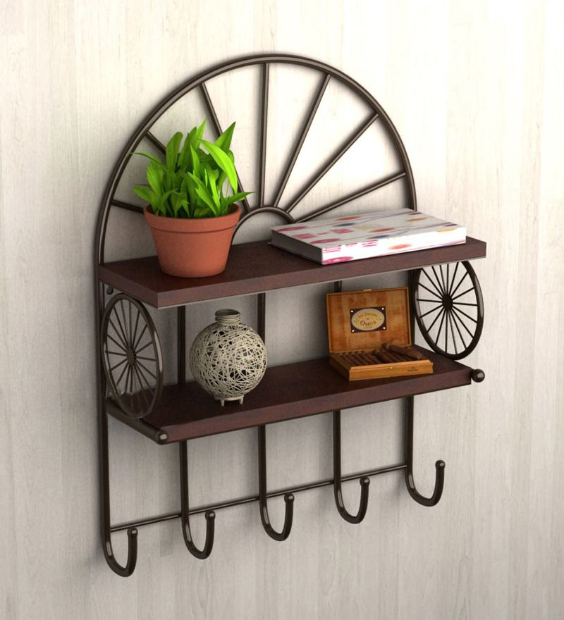 Two Tier Metallic Wall Shelf With Key Holder By Home Sparkle Online   Wall  Shelves