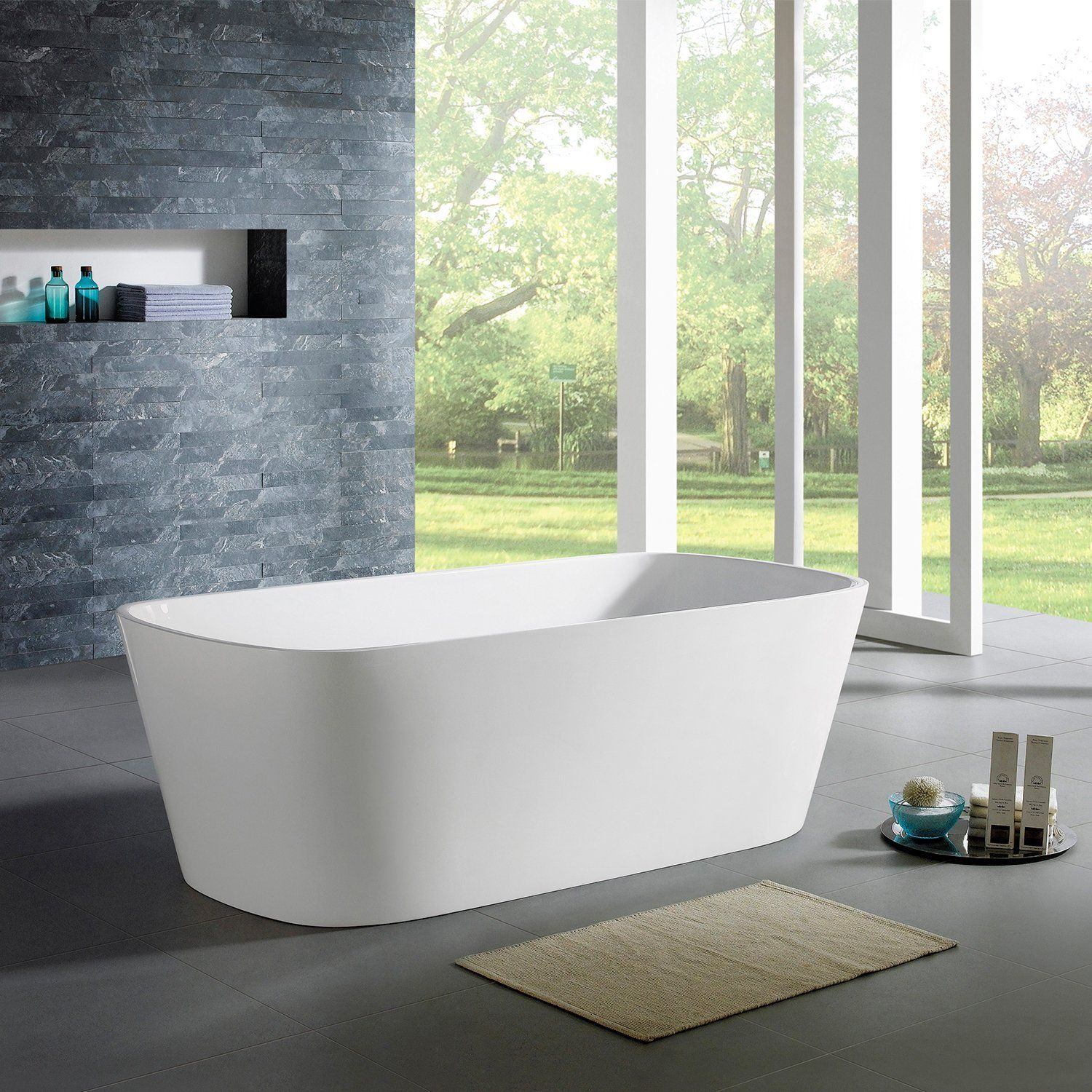 MAYKKE Canaveral 67 Inches Modern Rectangle Light Acrylic Bathtub ...