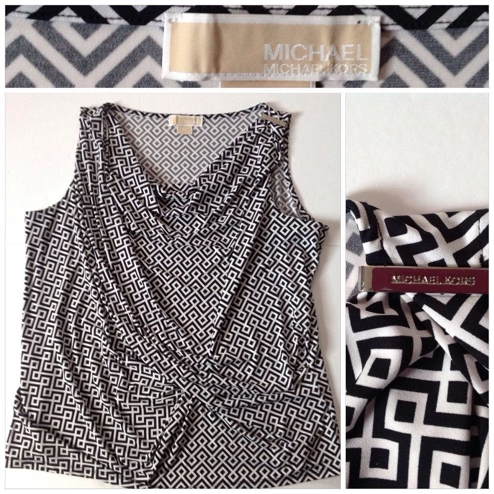MICHAEL KORS Drape Neck Black White Gathered Career Sleeveless ...