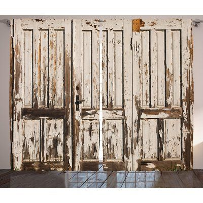 Gracie Oaks Bessie Rustic Vintage House Entrance With Vertical Lined Old Planks Distressed Hardwood Design In 2020 Hardwood Design Distressed Hardwood Rustic Curtains