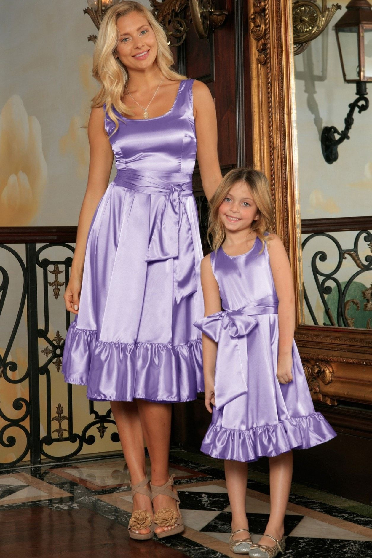 4a693cc39ac Lavender Fit   Flare Ruffle-Hem Midi Mommy and Me Dress With Belt in ...