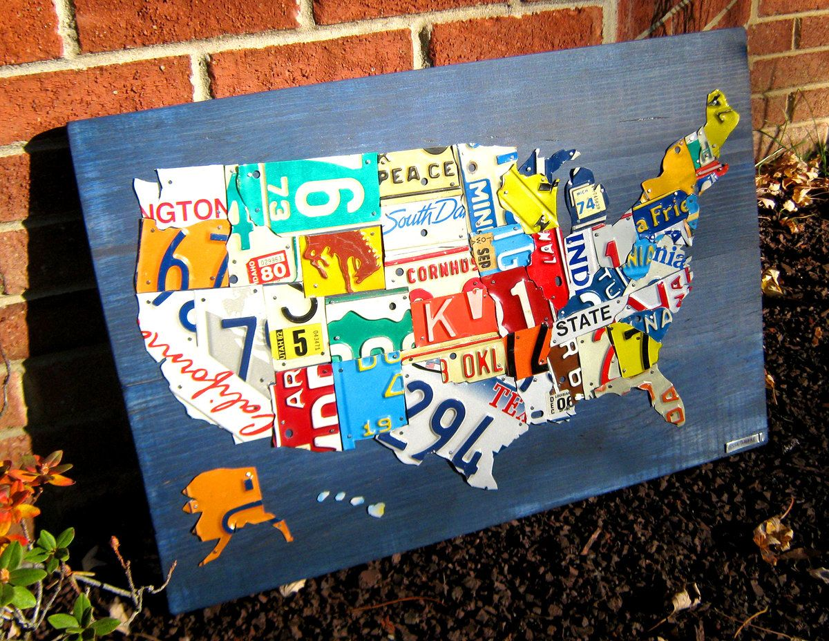 License Plate Map of The United States Metal Artwork - 27\