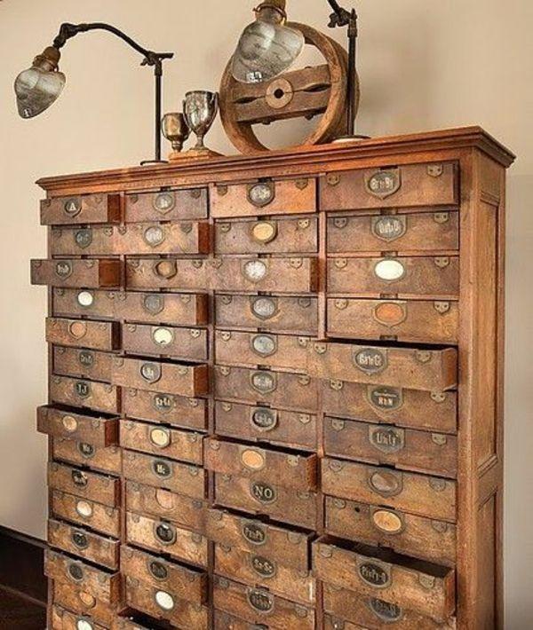 Möbel aus holz  Vintage Look Möbel holz schubladenschrank | Möbel / Wohnen ...