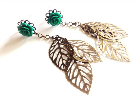 Dangle Plugs 0g 4g 2g Gauged Earrings Choose Rose Color With Long Dangles