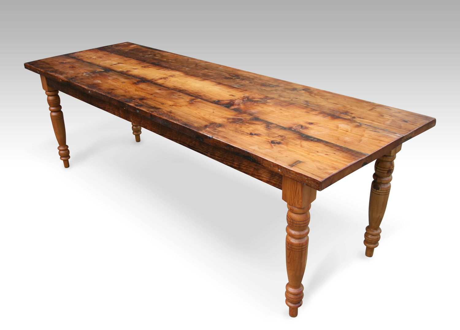 Farmhouse wooden kitchen tables with benches - Reclaimed Wood Farmhouse Dining Table Turned Legs Recycled Salvaged Lumber 2 050 00 Via Etsy