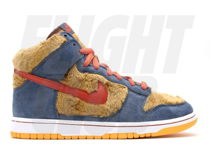 The Nike Dunk SB High - Premium SB Three Bears - I wish there was a pair with green duck canvas instead of the blue suede.