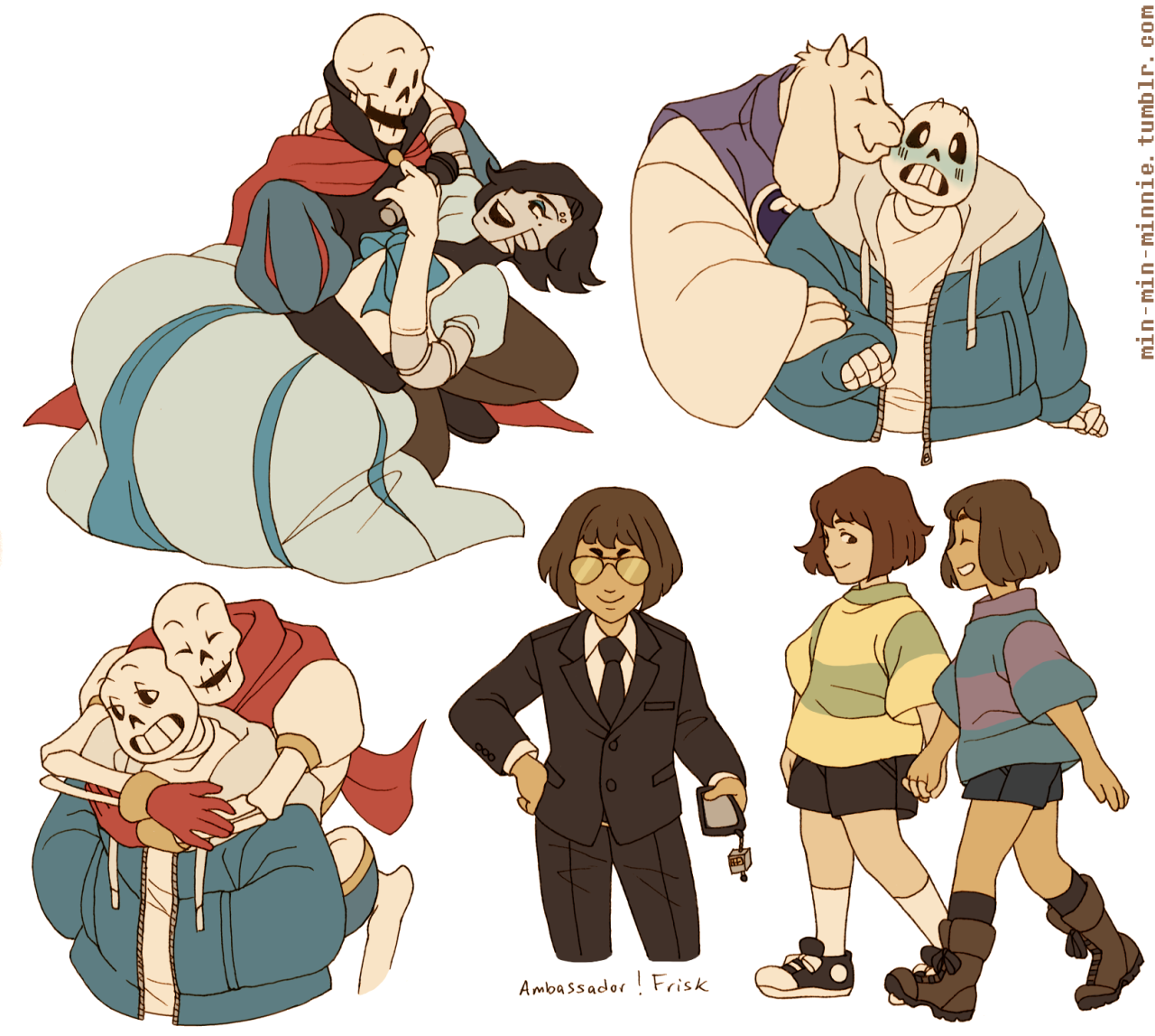 Papyrus, Mettaton, Toriel, Sans, Chara, and Frisk by min-min-minnie and it's so frigging cute!