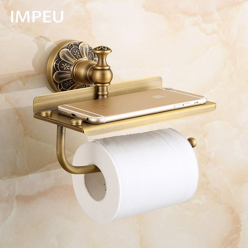 Toilet Paper Holder Antique Bronze Toilet Roll Holder With Large Space Shelf For Phone Storage Toilet Paper Holder Toilet Roll Holder Bathroom Tissue Holder