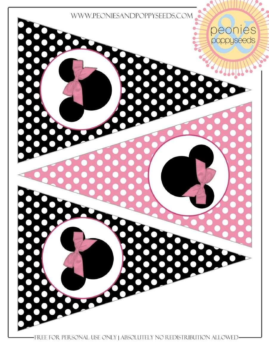 Minnie Mouse Pennant Banner Minnie Mouse Printables Free Minnie Mouse Printables Minnie Mouse Party