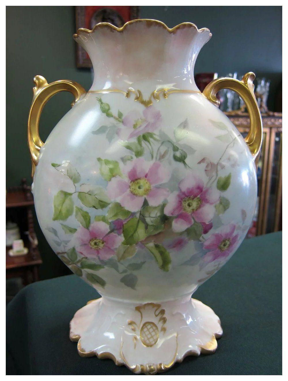 Limoges Handpainted Wild Rose Vase Gold в 2020 г. Ваза