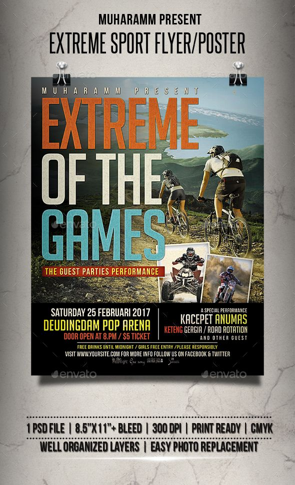 Extreme Sport Flyer Poster Flyer Template Template And Event Flyers