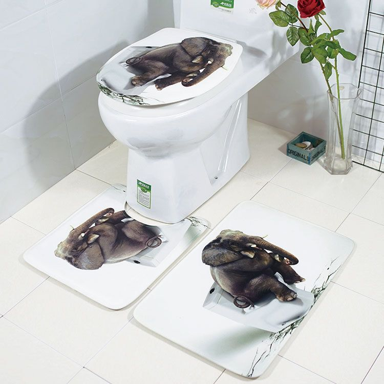 Honana Badezimmer Teppich Matten Set 3 Stck 3d Elefant Bedruckte Flanell Soft Anti Rutsch Duschbad Wc Teppiche Komb Toilet Rug Bathroom Rugs Soft Bathroom Rugs